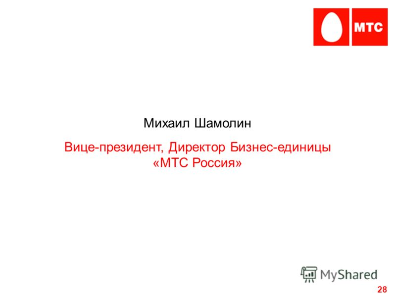 28 Михаил Шамолин Вице-президент, Директор Бизнес-единицы «МТС Россия»