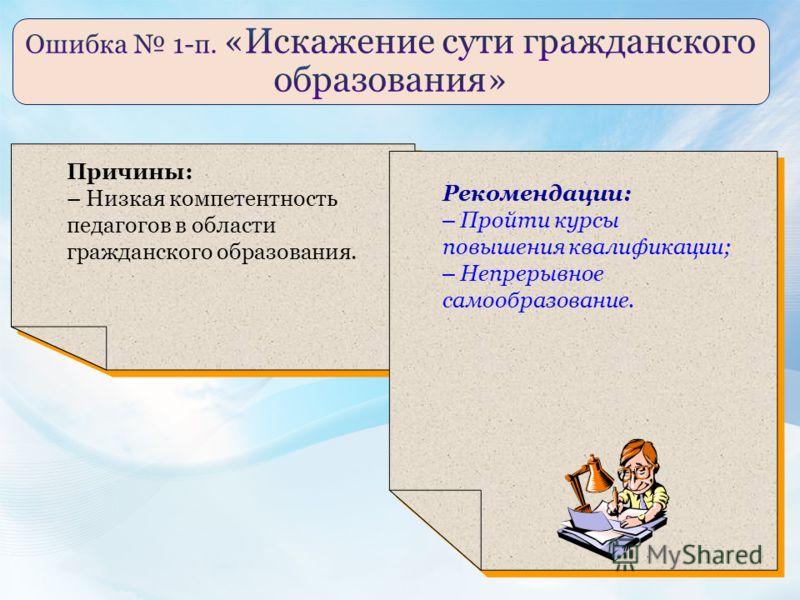 Причины: – Низкая компетентность педагогов в области гражданского образования. Рекомендации: – Пройти курсы повышения квалификации; – Непрерывное самообразование.