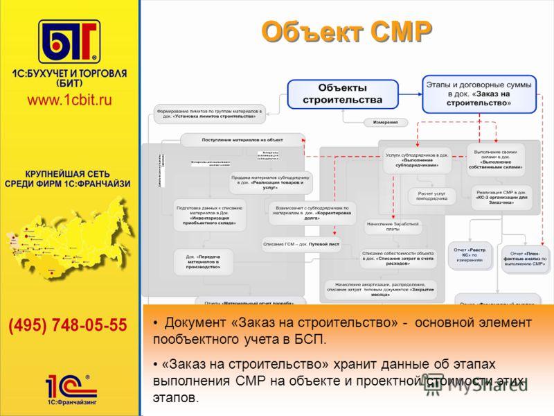 Объект СМР Документ «Заказ на строительство» - основной элемент пообъектного учета в БСП. Документ «Заказ на строительство» - основной элемент пообъектного учета в БСП. «Заказ на строительство» хранит данные об этапах выполнения СМР на объекте и прое