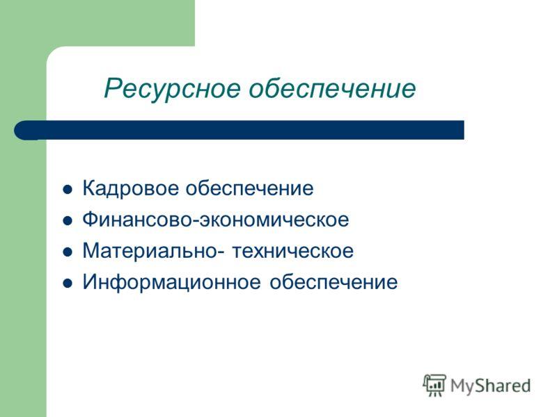 Ресурсное обеспечение Кадровое обеспечение Финансово-экономическое Материально- техническое Информационное обеспечение