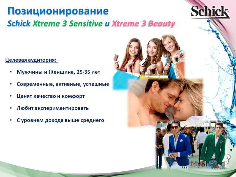 Позиционирование Schick Xtreme 3 Sensitive и Xtreme 3 Beauty Целевая аудитория: Мужчины и Женщина, 25-35 лет Современные, активные, успешные Ценят качество и комфорт Любит экспериментировать С уровнем дохода выше среднего