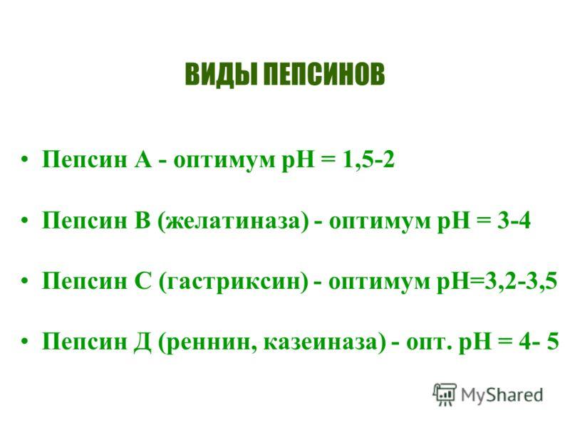 ВИДЫ ПЕПСИНОВ Пепсин А - оптимум рН = 1,5-2 Пепсин В (желатиназа) - оптимум рН = 3-4 Пепсин С (гастриксин) - оптимум рН=3,2-3,5 Пепсин Д (реннин, казеиназа) - опт. рН = 4- 5