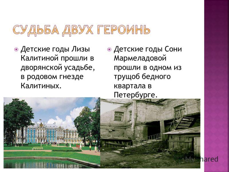 Детские годы Лизы Калитиной прошли в дворянской усадьбе, в родовом гнезде Калитиных. Детские годы Сони Мармеладовой прошли в одном из трущоб бедного квартала в Петербурге.