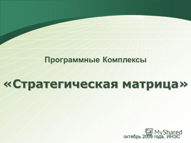 «Стратегическая матрица» Программные Комплексы октябрь 2009 года, ИНЭС