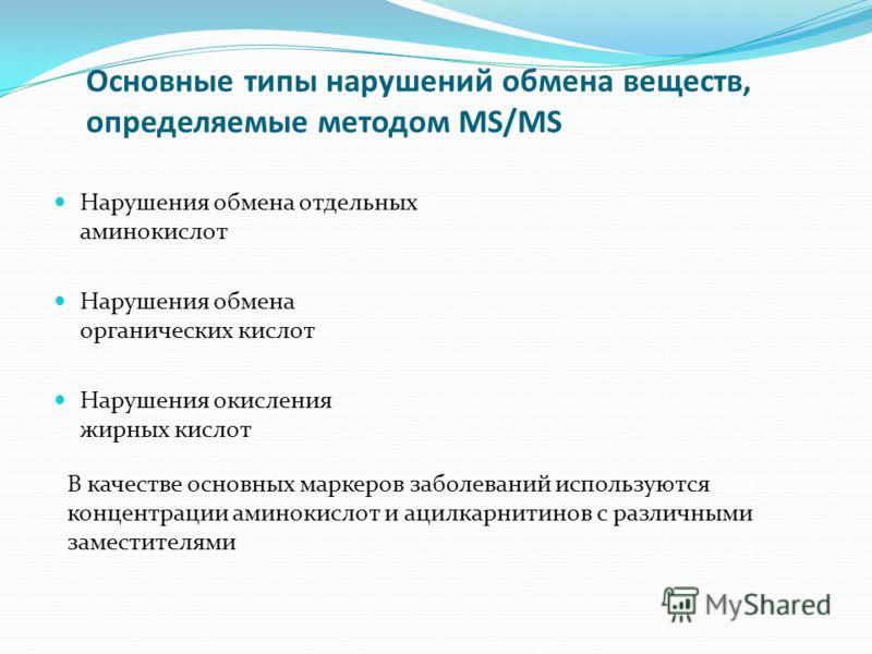 Основные типы нарушений обмена веществ, определяемые методом MS/MS Нарушения обмена отдельных аминокислот Нарушения обмена органических кислот Нарушения окисления жирных кислот В качестве основных маркеров заболеваний используются концентрации аминок