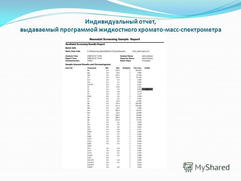 Индивидуальный отчет, выдаваемый программой жидкостного хромато-масс-спектрометра