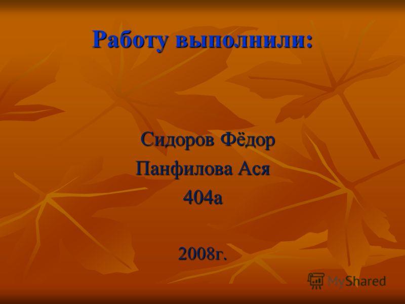 Работу выполнили: Сидоров Фёдор Сидоров Фёдор Панфилова Ася 404а2008г.