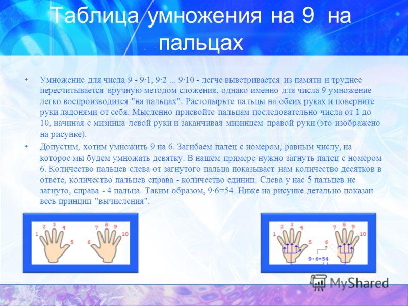 Таблица умножения на 9 на пальцах Умножение для числа 9 - 9·1, 9·2... 9·10 - легче выветривается из памяти и труднее пересчитывается вручную методом сложения, однако именно для числа 9 умножение легко воспроизводится