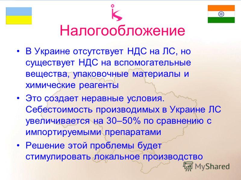 Налогообложение В Украине отсутствует НДС на ЛС, но существует НДС на вспомогательные вещества, упаковочные материалы и химические реагенты Это создает неравные условия. Себестоимость производимых в Украине ЛС увеличивается на 30–50% по сравнению с и
