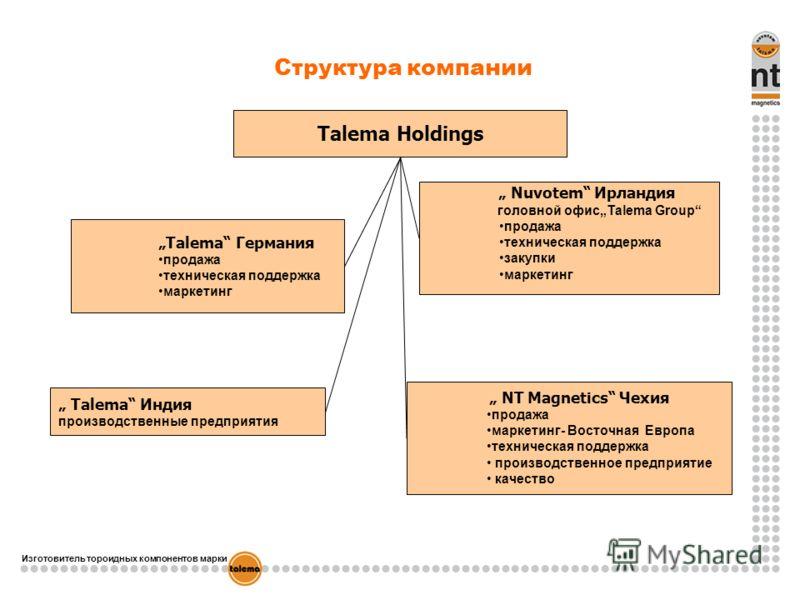 Изготовитель тороидных компонентов марки Talema Holdings Talema Германия продажа техническая поддержка маркетинг Talema Индия производственные предприятия NT Magnetics Чехия продажа маркетинг- Восточная Европа техническая поддержка производственное п