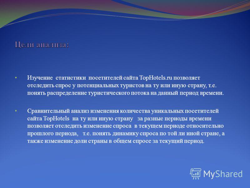 Изучение статистики посетителей сайта TopHotels.ru позволяет отследить спрос у потенциальных туристов на ту или иную страну, т.е. понять распределение туристического потока на данный период времени. Сравнительный анализ изменения количества уникальны