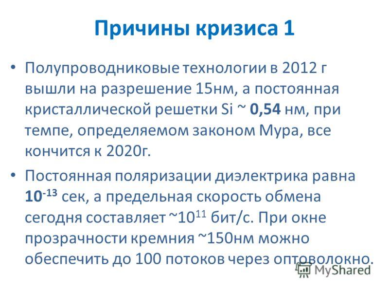 Причины кризиса 1 Полупроводниковые технологии в 2012 г вышли на разрешение 15нм, а постоянная кристаллической решетки Si ~ 0,54 нм, при темпе, определяемом законом Мура, все кончится к 2020г. Постоянная поляризации диэлектрика равна 10 -13 сек, а пр