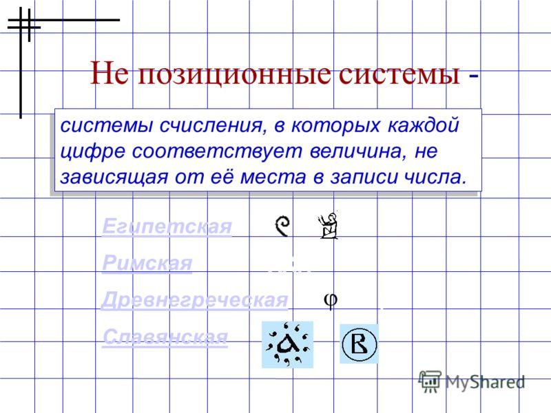 Не позиционные системы - системы счисления, в которых каждой цифре соответствует величина, не зависящая от её места в записи числа. Египетская Римская Древнегреческая Славянская XXIV