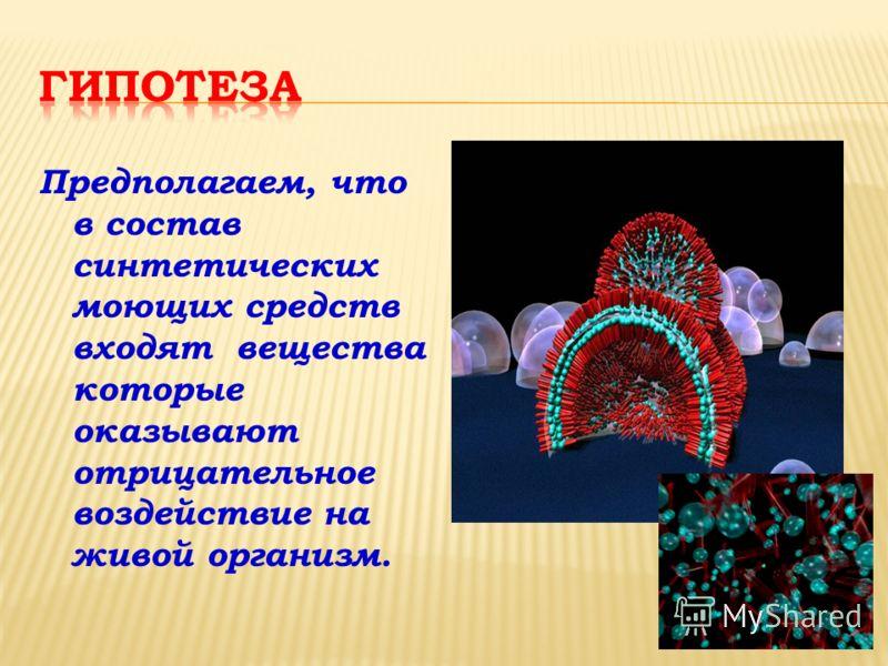 Предполагаем, что в состав синтетических моющих средств входят вещества которые оказывают отрицательное воздействие на живой организм.