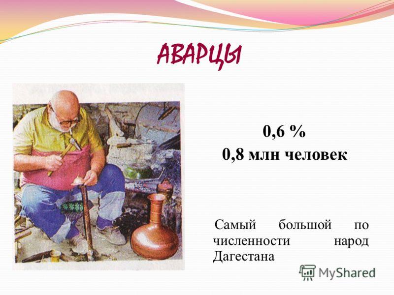 АВАРЦЫ 0,6 % 0,8 млн человек Самый большой по численности народ Дагестана