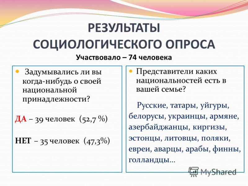 РЕЗУЛЬТАТЫ СОЦИОЛОГИЧЕСКОГО ОПРОСА Участвовало – 74 человека Задумывались ли вы когда-нибудь о своей национальной принадлежности? ДА – 39 человек (52,7 %) НЕТ – 35 человек (47,3%) Представители каких национальностей есть в вашей семье? Русские, татар