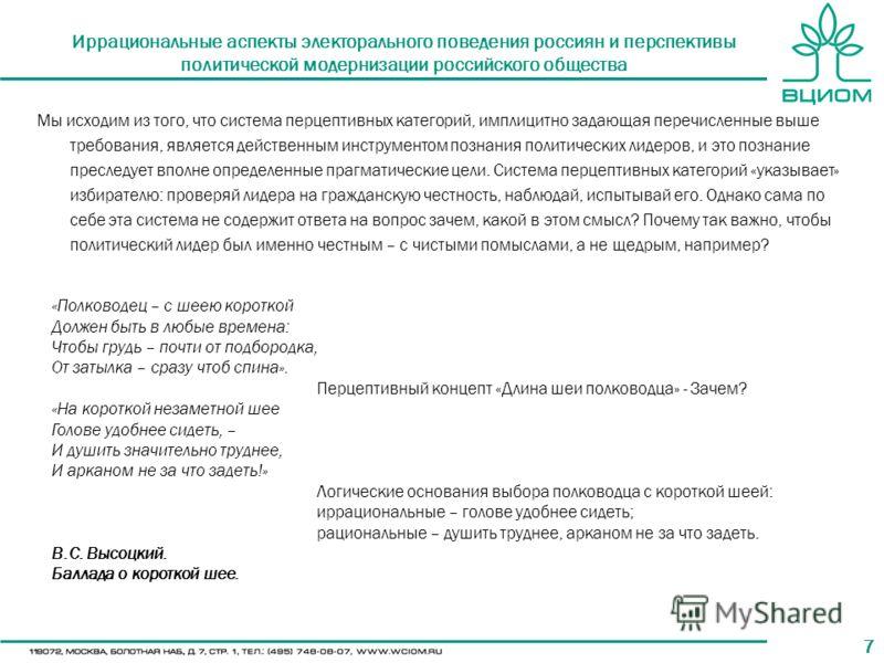 77 Иррациональные аспекты электорального поведения россиян и перспективы политической модернизации российского общества Мы исходим из того, что система перцептивных категорий, имплицитно задающая перечисленные выше требования, является действенным ин