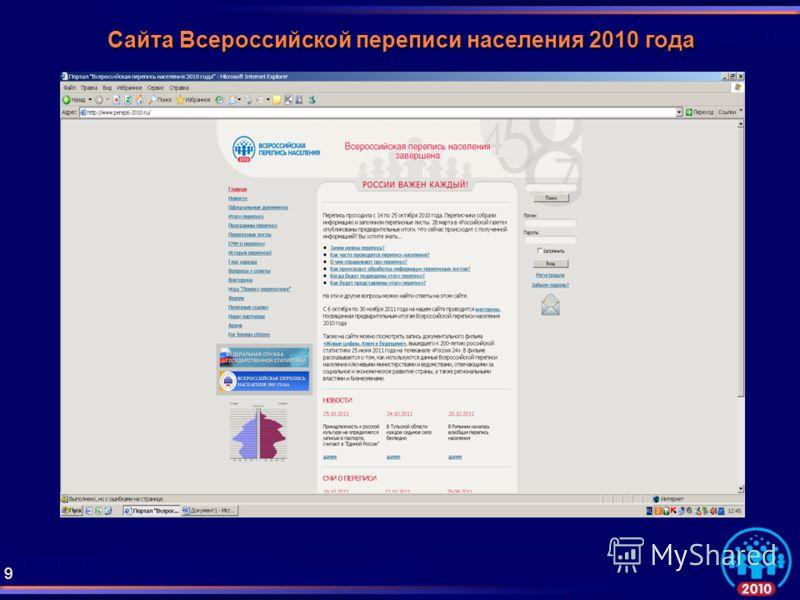 Сайта Всероссийской переписи населения 2010 года 9