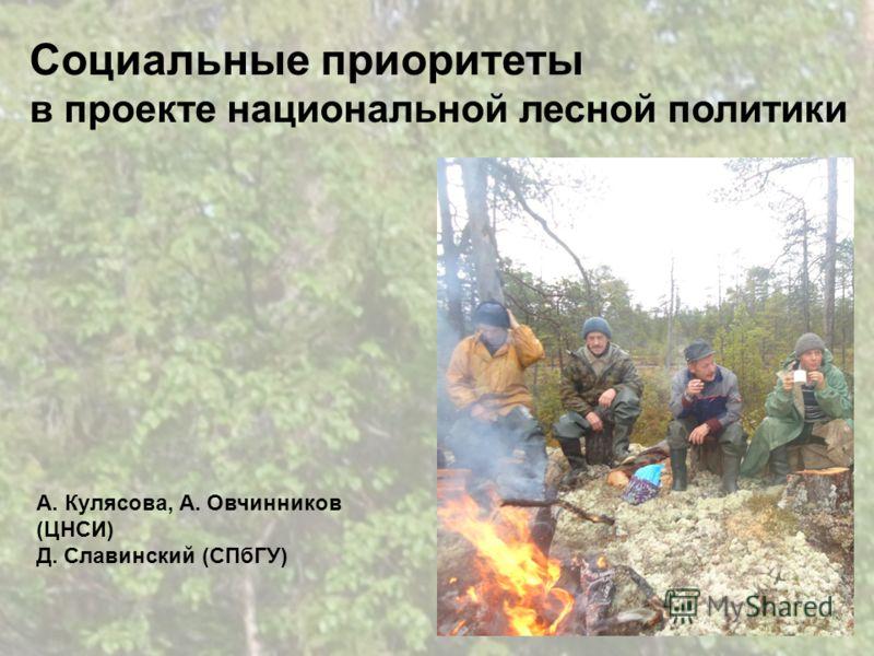 Социальные приоритеты в проекте национальной лесной политики А. Кулясова, А. Овчинников (ЦНСИ) Д. Славинский (СПбГУ)