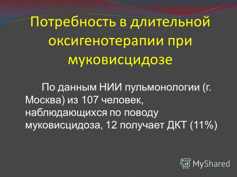 Потребность в длительной оксигенотерапии при муковисцидозе По данным НИИ пульмонологии (г. Москва) из 107 человек, наблюдающихся по поводу муковисцидоза, 12 получает ДКТ (11%)