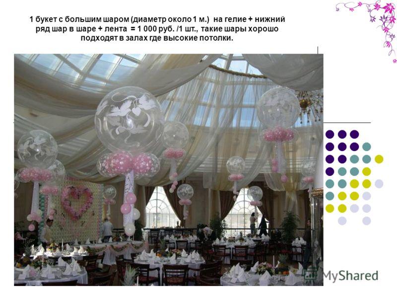 1 букет с большим шаром (диаметр около 1 м.) на гелие + нижний ряд шар в шаре + лента = 1 000 руб. /1 шт., такие шары хорошо подходят в залах где высокие потолки.
