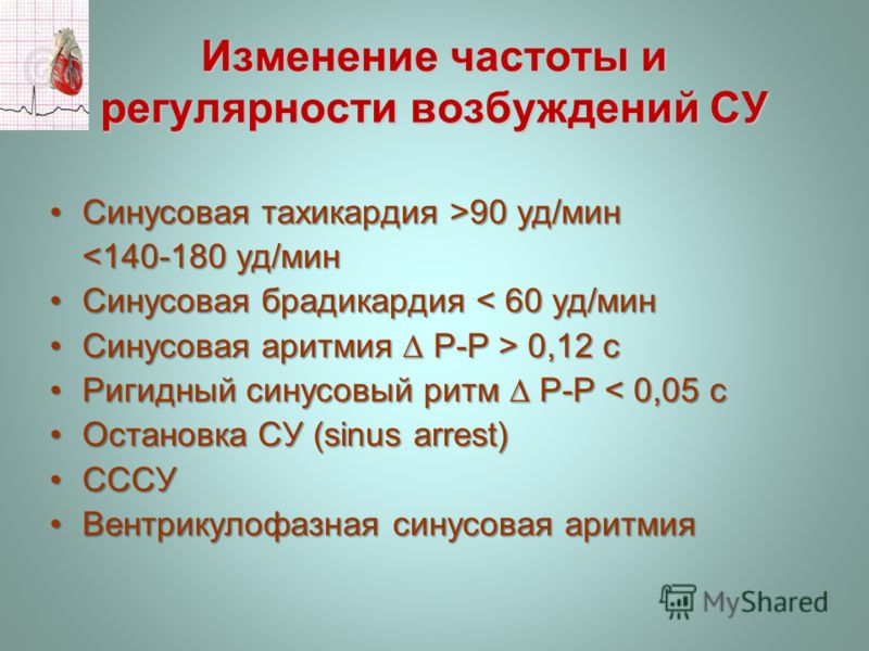 Изменение частоты и регулярности возбуждений СУ Синусовая тахикардия >90 уд/минСинусовая тахикардия >90 уд/мин  0,12 сСинусовая аритмия Р-Р > 0,12 с Ригидный синусовый ритм Р-Р < 0,05 сРигидный синусовый ритм Р-Р < 0,05 с Остановка СУ (sinus arrest)О