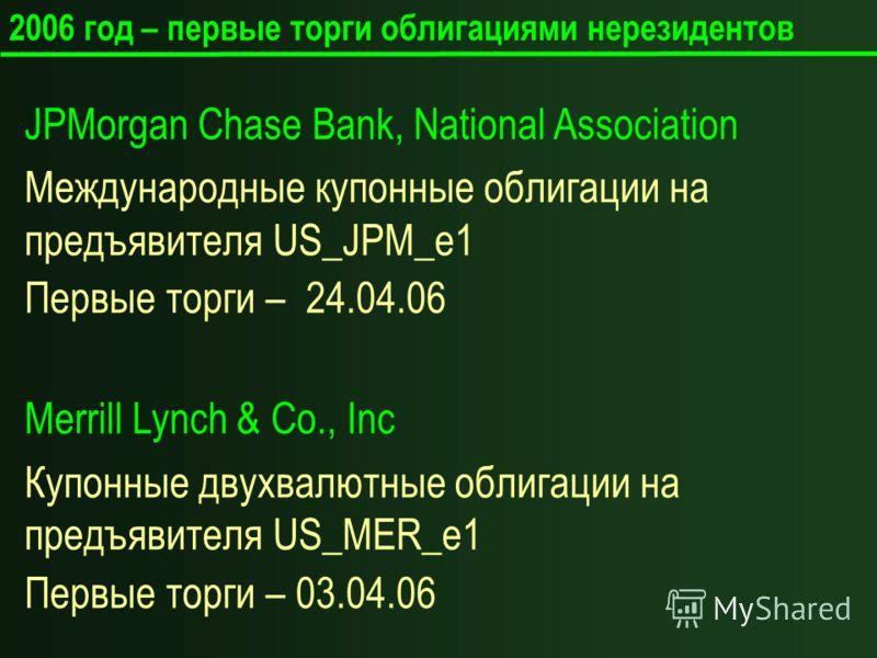 2006 год – первые торги облигациями нерезидентов JPMorgan Chase Bank, National Association Международные купонные облигации на предъявителя US_JPM_e1 Первые торги – 24.04.06 Merrill Lynch & Co., Inc Купонные двухвалютные облигации на предъявителя US_