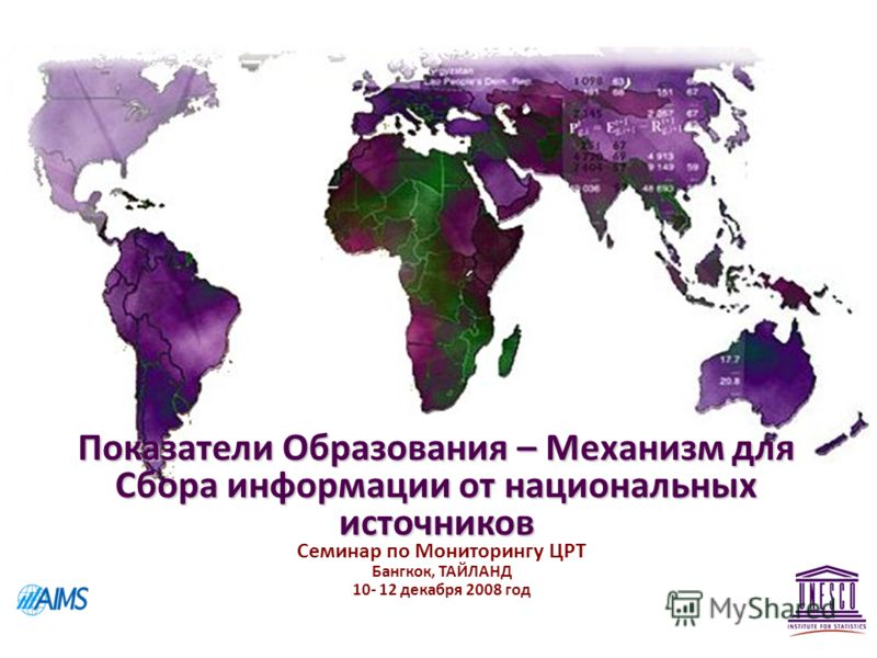 Показатели Образования – Механизм для Сбора информации от национальных источников Семинар по Мониторингу ЦРТ Бангкок, ТАЙЛАНД 10- 12 декабря 2008 год