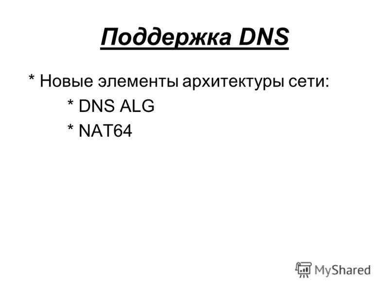 Поддержка DNS * Новые элементы архитектуры сети: * DNS ALG * NAT64