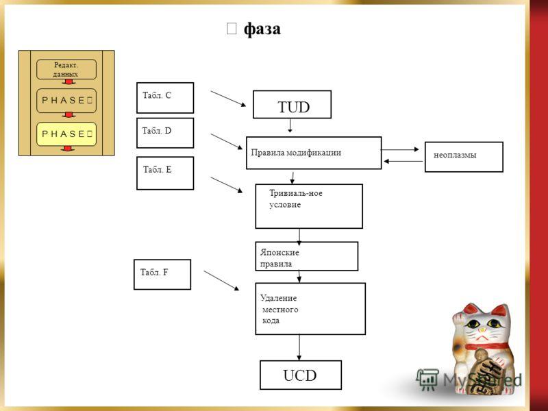 Редакт. данных фаза Табл. C Табл. D TUD Правила модификации Тривиаль-ное условие Японские правила Удаление местного кода UCD Табл. E Табл. F неоплазмы