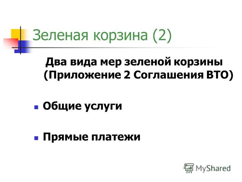 Зеленая корзина (2) Два вида мер зеленой корзины (Приложение 2 Соглашения ВТО) Общие услуги Прямые платежи