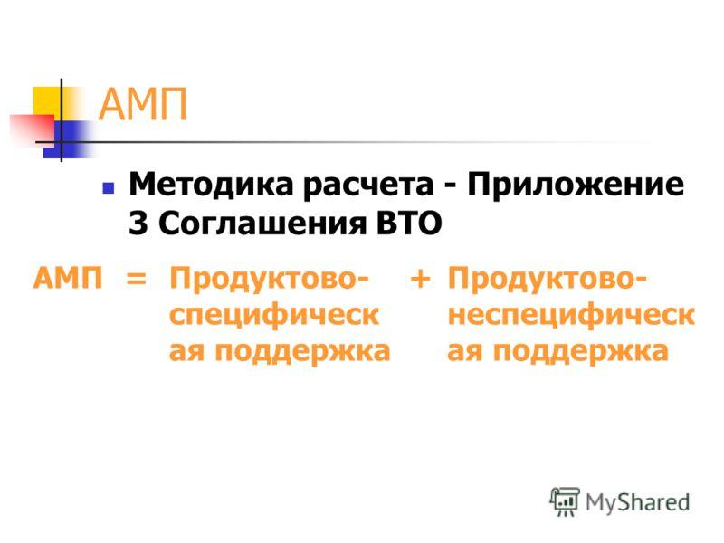 АМП Методика расчета - Приложение 3 Соглашения ВТО АМП=Продуктово- специфическ ая поддержка +Продуктово- неспецифическ ая поддержка