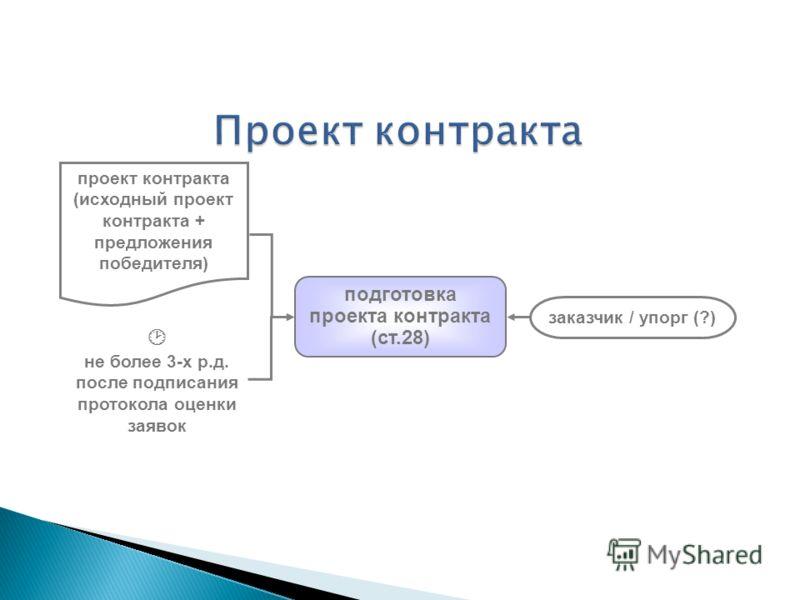 подготовка проекта контракта (ст.28) проект контракта (исходный проект контракта + предложения победителя) не более 3-х р.д. после подписания протокола оценки заявок заказчик / упорг (?)