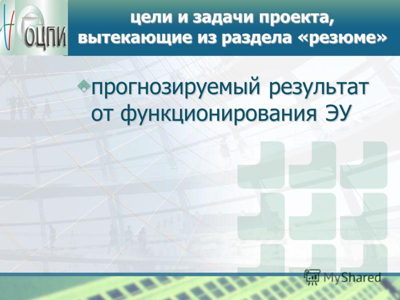 логотип цели и задачи проекта, вытекающие из раздела «резюме» прогнозируемый результат от функционирования ЭУ