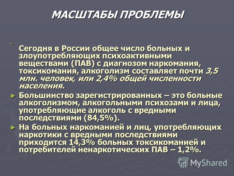 МАСШТАБЫ ПРОБЛЕМЫ Сегодня в России общее число больных и злоупотребляющих психоактивными веществами (ПАВ) с диагнозом наркомания, токсикомания, алкоголизм составляет почти 3,5 млн. человек, или 2,4% общей численности населения. Сегодня в России общее