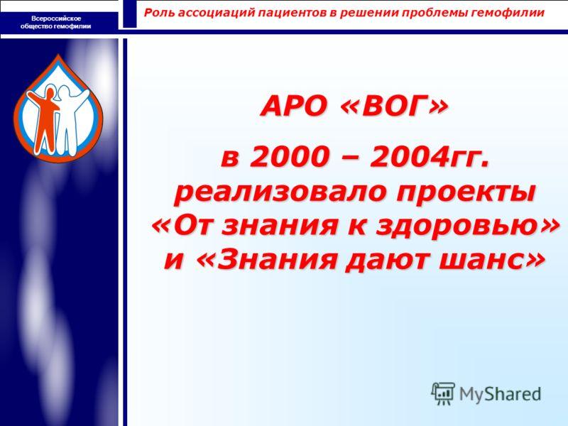 Роль ассоциаций пациентов в решении проблемы гемофилии Всероссийское общество гемофилии АРО «ВОГ» в 2000 – 2004гг. реализовало проекты «От знания к здоровью» и «Знания дают шанс»