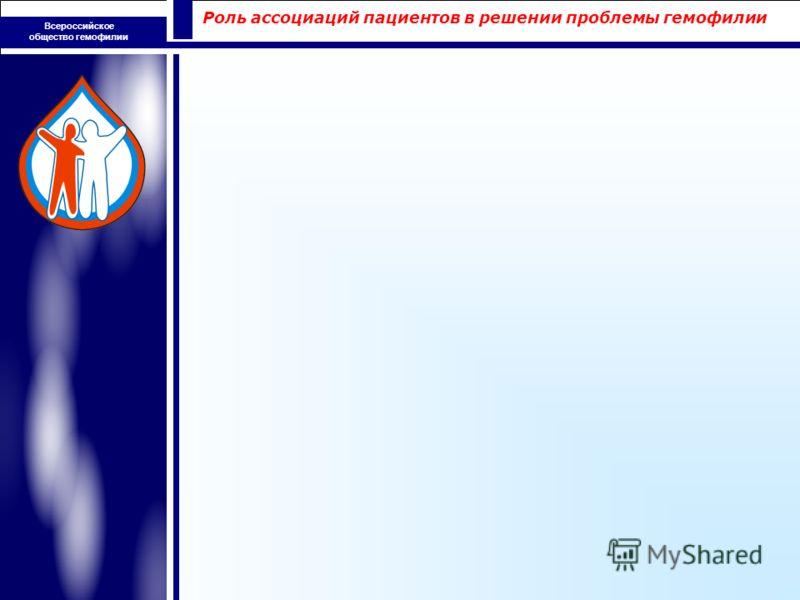 Роль ассоциаций пациентов в решении проблемы гемофилии Всероссийское общество гемофилии