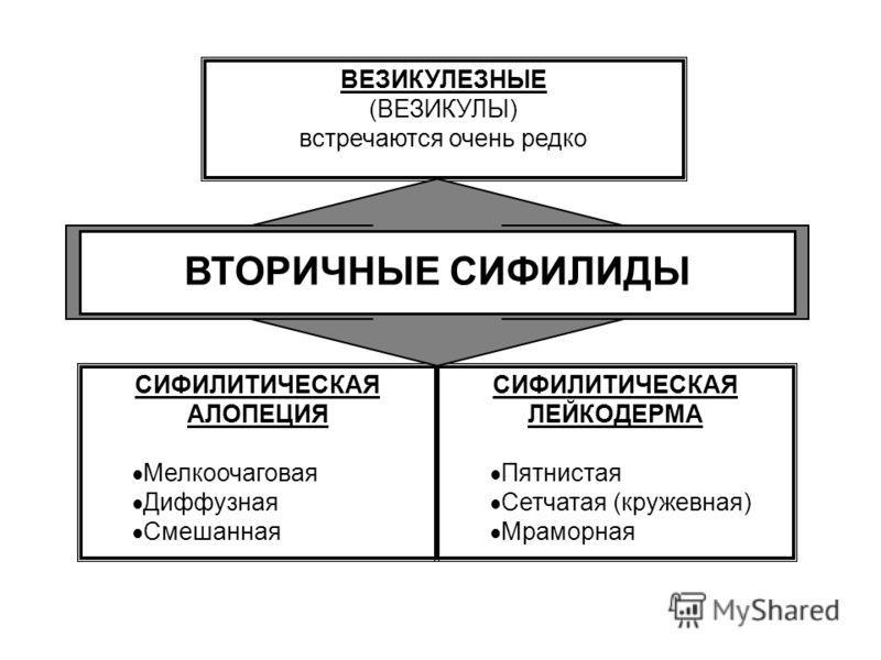 СИФИЛИТИЧЕСКАЯ ЛЕЙКОДЕРМА Пятнистая Сетчатая (кружевная) Мраморная СИФИЛИТИЧЕСКАЯ АЛОПЕЦИЯ Мелкоочаговая Диффузная Смешанная ВЕЗИКУЛЕЗНЫЕ (ВЕЗИКУЛЫ) встречаются очень редко ВТОРИЧНЫЕ СИФИЛИДЫ