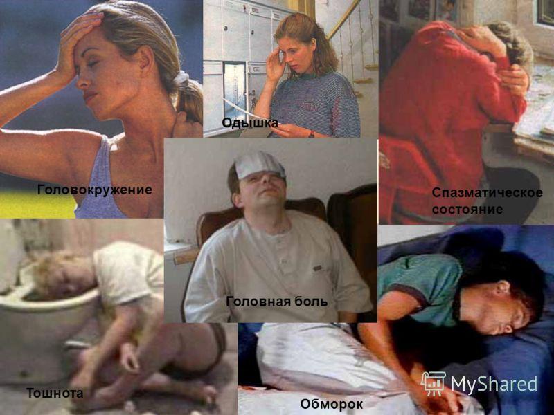 Головная боль Одышка Обморок Тошнота Головная боль Головокружение Спазматическое состояние