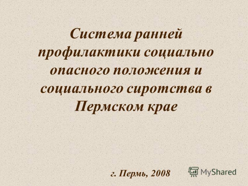 Система ранней профилактики социально опасного положения и социального сиротства в Пермском крае г. Пермь, 2008