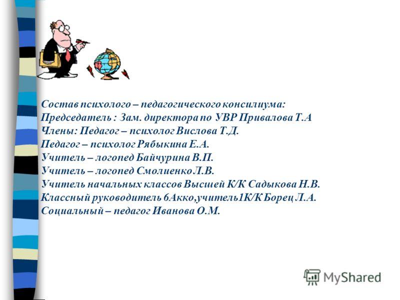 Состав психолого – педагогического консилиума: Председатель : Зам. директора по УВР Привалова Т.А Члены: Педагог – психолог Вислова Т.Д. Педагог – психолог Рябыкина Е.А. Учитель – логопед Байчурина В.П. Учитель – логопед Смолиенко Л.В. Учитель началь