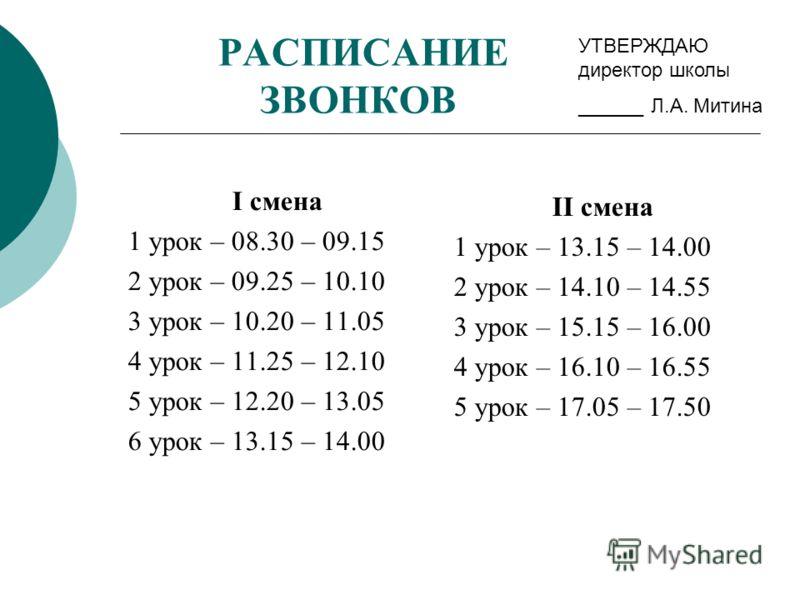 РАСПИСАНИЕ ЗВОНКОВ I смена 1 урок – 08.30 – 09.15 2 урок – 09.25 – 10.10 3 урок – 10.20 – 11.05 4 урок – 11.25 – 12.10 5 урок – 12.20 – 13.05 6 урок – 13.15 – 14.00 II смена 1 урок – 13.15 – 14.00 2 урок – 14.10 – 14.55 3 урок – 15.15 – 16.00 4 урок