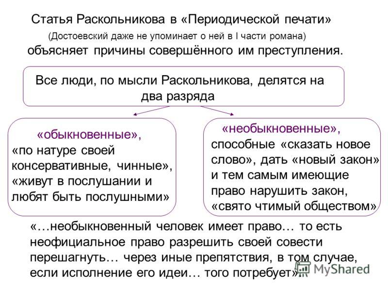 Статья Раскольникова в «Периодической печати» (Достоевский даже не упоминает о ней в I части романа) объясняет причины совершённого им преступления. Все люди, по мысли Раскольникова, делятся на два разряда «обыкновенные», «по натуре своей консерватив