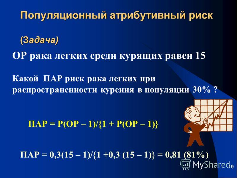 19 Популяционный атрибутивный риск (Задача) ОР рака легких среди курящих равен 15 Какой ПАР риск рака легких при распространенности курения в популяции 30% ? ПАР = Р(ОР – 1)/{1 + Р(ОР – 1)} ПАР = 0,3(15 – 1)/{1 +0,3 (15 – 1)} = 0,81 (81%)