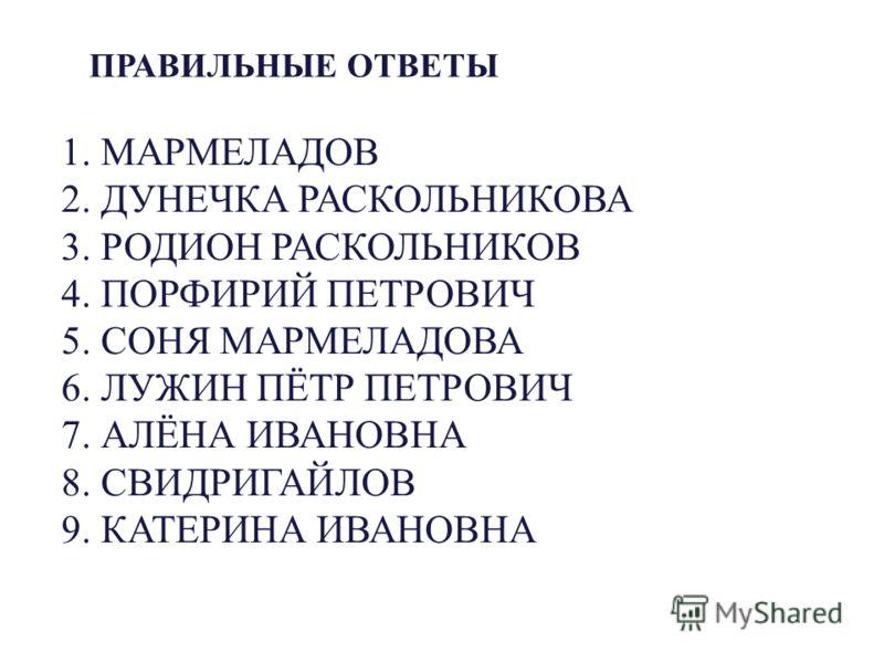 ПРАВИЛЬНЫЕ ОТВЕТЫ 1. МАРМЕЛАДОВ 2. ДУНЕЧКА РАСКОЛЬНИКОВА 3. РОДИОН РАСКОЛЬНИКОВ 4. ПОРФИРИЙ ПЕТРОВИЧ 5. СОНЯ МАРМЕЛАДОВА 6. ЛУЖИН ПЁТР ПЕТРОВИЧ 7. АЛЁНА ИВАНОВНА 8. СВИДРИГАЙЛОВ 9. КАТЕРИНА ИВАНОВНА