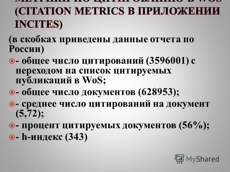 (в скобках приведены данные отчета по России) - общее число цитирований (3596001) с переходом на список цитируемых публикаций в WoS; - общее число документов (628953); - среднее число цитирований на документ (5,72); - процент цитируемых документов (5