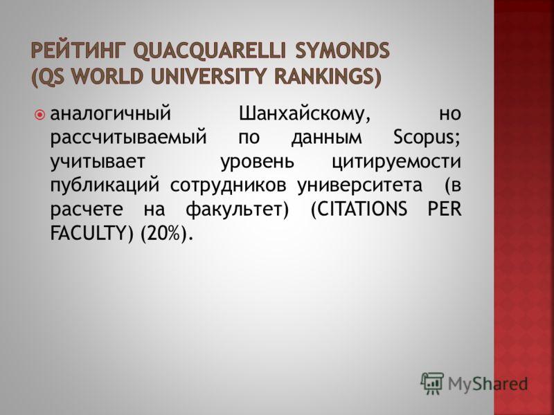 аналогичный Шанхайскому, но рассчитываемый по данным Scopus; учитывает уровень цитируемости публикаций сотрудников университета (в расчете на факультет) (CITATIONS PER FACULTY) (20%).