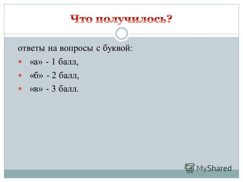 ответы на вопросы с буквой: «а» - 1 балл, «б» - 2 балл, «в» - 3 балл.