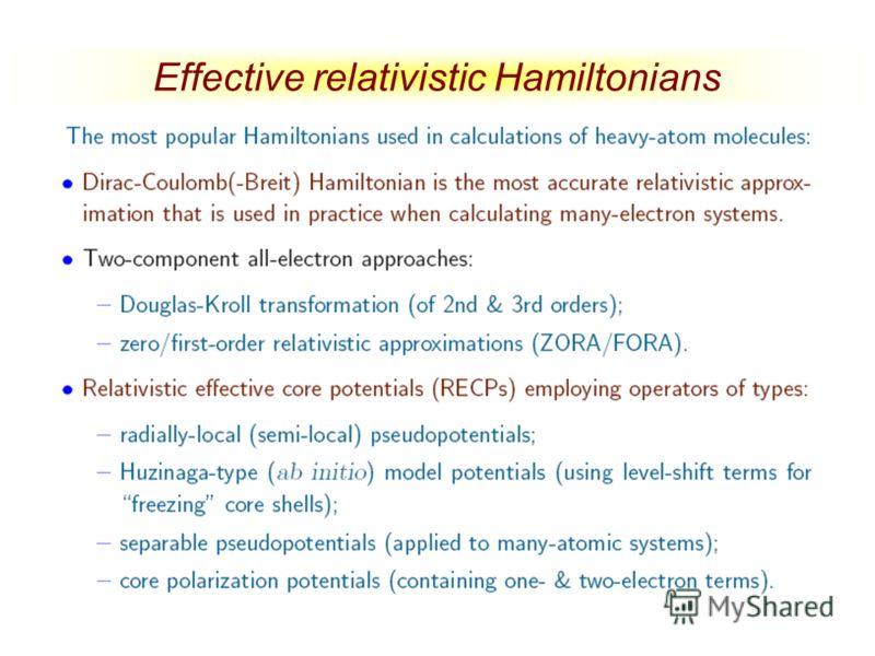 Effective relativistic Hamiltonians