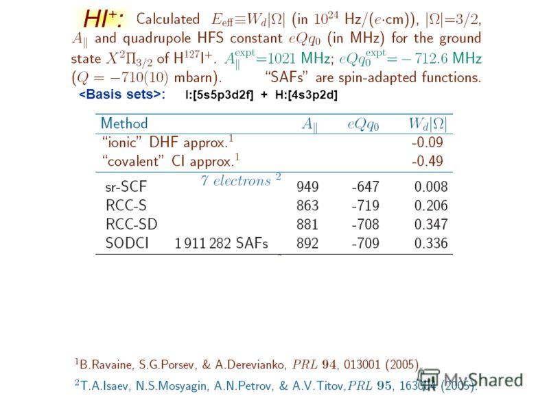 HI + : : I:[5s5p3d2f] + H:[4s3p2d]